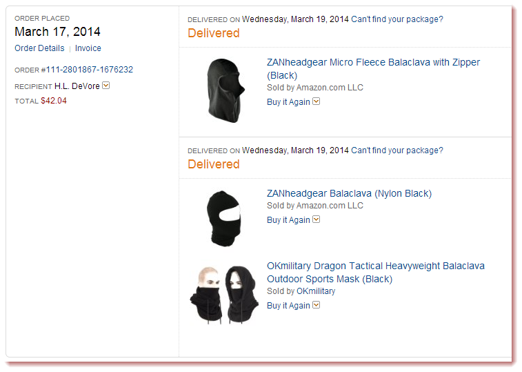 Headgear I purchased from Amazon